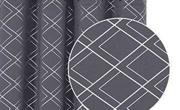 Deconovo Eyelet Blackout Curtains with Half Diamond Foil Printed Pattern 46x54in,46x72in,46x90in,55x69in,55x96in,55x70in,55x94in,55x114in.