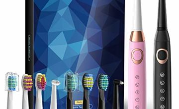 Sboly 2 Sonic Electric Toothbrushes 5 Modes 8 Brush Heads USB Fast Charge Powered Toothbrush Last for 30 Days, Built-in Smart Timer Rechargeable Toothbrushes for Adults and Kids (1 Black and 1 Pink)