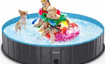 lunaoo Foldable Dog Pool - Portable Kiddie Pool for Kids, PVC Bathing Tub, Dog Paddling Pool, Outdoor Swimming Pool for Large Small Dogs