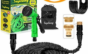 Suplong Expandable Garden Hose 3 Times Expandable Flexible Hose Pipe With Hose Gun Spray/Brass Hose Connector Fittings/Hose Storage Bag