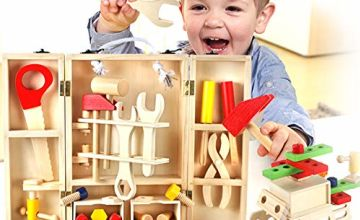 Buyger Wooden Tool Box Carrycase Pretend Role Play Carpenter Assembly Take Apart Construction Toys for Kids