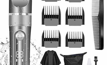 Professional Hair Clippers for Men Kids, Professional Hair Trimmer Set Cordless Rechargeable Led Display Five Speed Adjustment Electric Hair Clippers with 6 Guide Combs