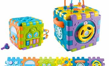 Early Education Musical Activity Cube Toy 18 Months Old Activity Center Play Center with Sounds and Light Learning Cube with Piano Shape Sorter Beads Maze for Toddlers Children & Kids Boys and Girls