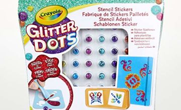 CRAYOLA 04-0802-E-000 Glitter Dots Stencil Stickers, Multi-Coloured