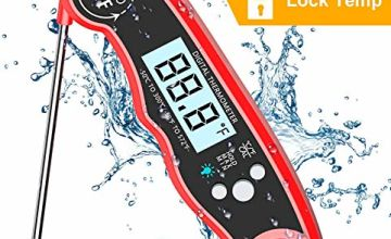 Cocoda Digital Meat Thermometer, 2S Instant Read Cooking Thermometer with 4.7¡± Long Probe, Backlight LCD, IPX6 Waterproof & Magnet, Candy Thermometer for Oil Deep Fry BBQ Grill Milk