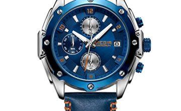 MEGIR Men's Analogue Chronograph Quartz Watches with Blue Leather Strap and Auto Calendar Luminous Function