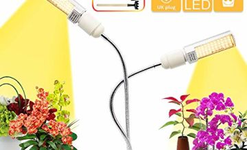 LED Grow Light for Indoor Sunlike Full Spectrum Grow Lamp 3 Timer 5 Dimmable Levels Modes Dual Head Gooseneck Plant Light with Replaceable Bulb Double Switch