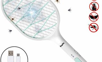 KEPLIN Electric Bug Zapper, Rechargeable Mosquito, Fly Swatter Bug Killer/Zapper, Bug Bat Indoor, Super Bright LED Light to Zap in the Dark Outdoors with Extra Strong Bag, 57cm Long