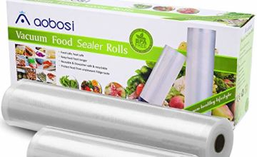 Aobosi Vacuum Sealer Bags Vacuum Food Sealer Rolls BPA Free & LFGB Approved Food Storage Bags 2 Pack Roll 20cm X 6m and 28cm X 6m, for Sous Vide Cooker and All Vaccum Food Sealer Machines