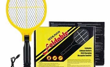 Seekavan Fly Zapper, Fly Swatter Foldable USB Rechargeable Bug Zapper Electric Mosquito Zapper Racket - Yellow