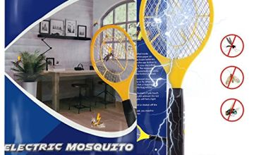 Karvipark Bug Zapper, Fly Zapper Racket with 2 AA Batteries, Electric Fly Swatter Mosquito Zapper for Indoor Travel Campings and Outdoor Occasions