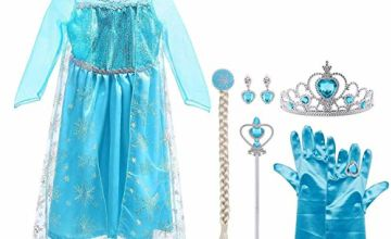 Vicloon Ice Queen Elsa Princess Costume,Elsa Anna Fine Lace Snowflake Dress with Fairy Crown Wand Gloves and Tiara for Christening/Wedding/Party/Pageant/Bridesmaid Princess Kids Dress Ball Gown