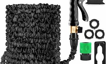 Garden Hose Expandable Hose Pipe 50FT Flexible Magic Hose With Multifunction Spray Gun/Hose Hanger/Storage Bag/Hose Quick Connector, Leak-proof Brass Fittings Expanding Water Hose