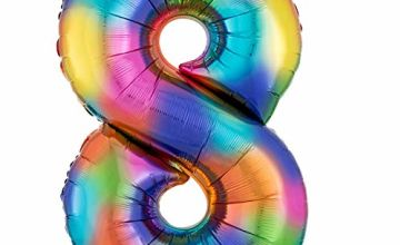 Super Shape Balloon Number 8 Rainbow Splash
