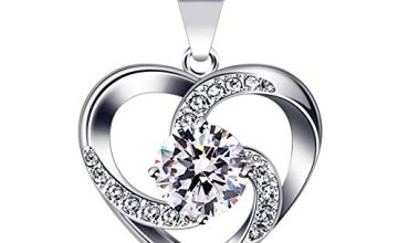 """B.Catcher Women Necklace 925 Sterling Silver """"Crazy Love"""" Pendant Necklaces with 18inch Box Chain"""