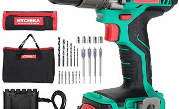 Electric Drill 18V, HYCHIKA 35N·m Cordless Drill with 1500mAh Li-Ion Battery, 21+1 Torque Setting and Variable Speed, 22PCS Accessories, 1H Fast Charging, Bag for Drilling and Screw Driving