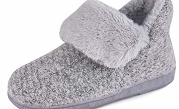 LongBay Ladies' Fluffy Boots Slippers Comfy Knit Faux Fur Lined Memory Foam Bootie Slipper with Indoor Outdoor House Shoes