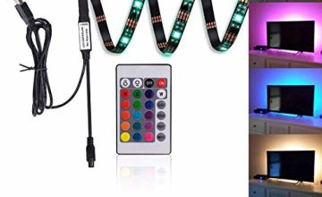 """Kohree LED Strips TV Backlight Bias Lighting Kits RGB Lights with Remote Control USB Powered for HDTV, Flat Screen TV Accessories and Desktop PC, Multi Color,35.4"""" Long"""