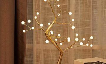 GUOCHENG Novelty Pearl Copper String Tree Lamp LED Battery&U