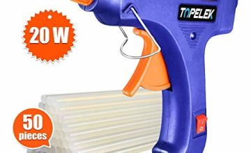 TOPELEK Mini Hot Glue Gun with Sticks(50pcs 100mm), Heat Up Quickly 20W Mini Heating Hot Melt Glue Gun, ON-Off Switch Easy for DIY Arts, Hobby, Craft, Home Repairs, Fabric,Wood, Glass, Card, Plastic