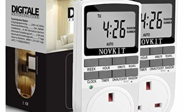 NOVKIT Digital Security Timer Plug Socket Programmable Switch Timer with 10 ON/Off Programs and Random Mode for Home and Indoor (Timer Plug)