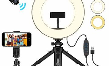 "Creatck 8"" LED Ring Light with Tripod Stand, Dimmable 3 Light Modes & 10 Brightness Selfie Desk Makeup Light with Cell Phone Holder USB Live Streaming Circle Light for Youtube Video Photography"