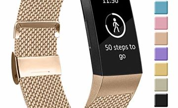 Amzpas Compatible with Fitbit Charge 3 Strap/Fitbit Charge 4 Strap, Adjustable Mesh Loop Stainless Steel Metal Strap with Unique Magnet Lock for Fitbit Charge 3/Charge 4 (05 Champagne Gold, S)