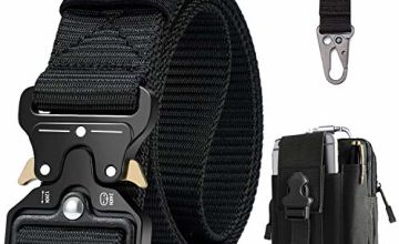 BESTKEE Men Tactical Belt 1.5 Inch Heavy Duty Belt, Cobra Buckle Belt Nylon Military Style with Quick-Release Metal Buckle, Gift with Tactical Molle Pouch and Hook