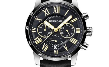 Wrist Watch for Men Chronograph Analog Quartz Movement Waterproof and Scratch Resistant Leather Strap Business Watches Elegant Mens Gift