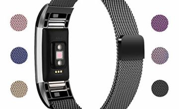 ametonuk Compatible with Fitbit Charge 2 Strap, Adjustable Metal Loop Stainless Steel Strap Wristband Bracelet Band Unique Magnet Lock for Charge 2 Small Large, Women/Men