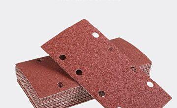 TACKLIFE 25Pcs Sandpaper, Sanding Paper Hook Loop Sand Sheet 93x185mm Punched 8 Holes Grits 40/60/80/120 Fit Sheet Orbital Sander Multi-Sander Aluminum Oxide Grain - ASD05C