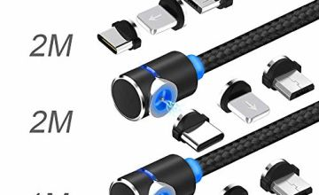 USB Magnetic Charging Cable,【3Pack】TOPK USB C Magnetic Cable Multi 3-in-1 Cable Charger with LED for Phone/Android,Multiple Charging Adapters Micro-Light-Type C-No Sync Data (Black)