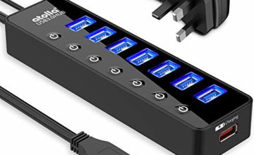 atolla Powered USB Hub 3.0, 7 Multi USB Data Ports Hub splitter with Individual On/Off Switches+1 USB Smart Charging port with 5V/4A Power Adapter USB Extension for MacBook, Mac Pro/Mini and More.