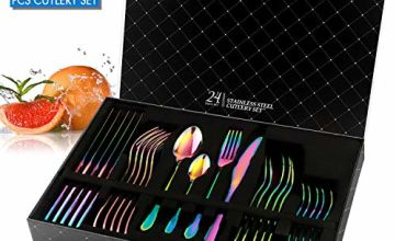 Rainbow Cutlery Set, HOBO 24 Piece Stainless Steel Flatware Set, Silverware Dinnerware Set Service for 6, Tableware Cutlery Include Knife/Fork/Spoon/Teaspoon for Home with Gift Box(Rainbow Multicolor)