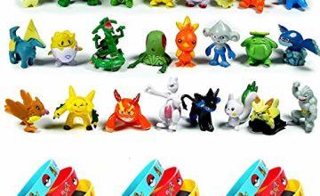 OMZGXGOD - 24 Pokemon Pikachu Mini Action Figures + 12 Pokemon Bracelets,Kids & Adult Party Celebration,Party Decorations Supplies Bundle Favors Pack