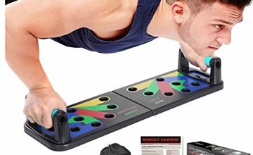 NEWEST Push Up Board Portable Fitness Workout Push-up Tools Pushup Stands 12 in 1 Come With Workout Schedule Portable Backpack Non-slip Stickers