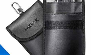 SAMFOLK Faraday Bag for Car Keys (2 Pack) Car Key Signal Blocker Pouch Case, Anti theft Safe Signal Blocking Bag, Keyless Entry RFID Fob Key Security Box Protector