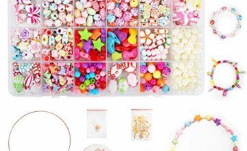 Children DIY Bead Set, Ucradle 500pcs Pony Alphabet Pop Beads for Making Necklace Bracelet Ring, Art Craft & Jewellery Making Kit for Kids Girls Age 4 5 6 7 8, 24 Types