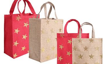 Earthbags Reusable Natural Jute Gift Bags With Gold Foil (Pack of 4)