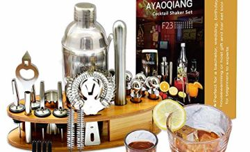 AYAOQINAG Cocktail Mixing Set, 23 Pieces Cocktail Shaker Set for Bartender, 750ml Stainless Steel Bar Tool Kit with Wooden Display Stand,Kitchen and Bar Cocktail Making Set