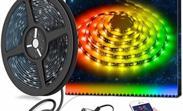 Minger LED Strip Lights 5M DreamColour Waterproof with APP Controlled, Rope Light Music Sync with Built-in Digital IC, RGB Flexible Strip Lighting for Indoor/Outdoor Living Room Bedroom Decoration