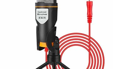 IUKUS PC Microphone with Mic Stand, Professional 3.5mm Jack Recording Condenser Microphone Compatible with PC, Laptop, iPad, iPhone, Mac-Recorder Singing YouTube Skype Gaming (3.5mm Jack)