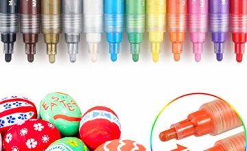 Paint Pens, INMUA 12 Colours Acrylic Paint Pens for Rock Painting Pebbles Wood Non-Toxic Quick Drying with Reversible Medium Round & Chisel Tip, Ideal for DIY Kids Arts & Crafts Projects
