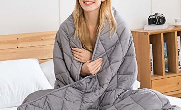 Weighted Blanket Adult - Sensory Calming Blanket - Anti-Anxiety Blanket for Better Sleep, Reduce Stress, Anxiety Relieve, 100% Cotton Heavy Blanket Grey