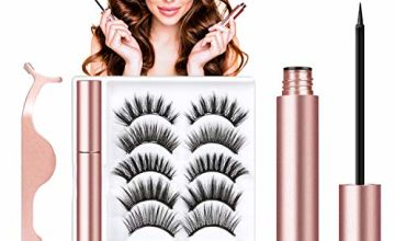 Magnetic Eyeliner and Magnetic Eyelash Kit, Magnetic Liquid Eyeliner Waterproof With FREE Tweezer For Use With Magnetic False Lashes,Reusable …