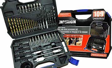 109 Piece Drill and Drive Accessory Set,Drill bits,Drill bit Set,Drill Set,Drilling Driving kit