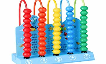Symiu Wooden Abacus Educational Counting Beads for Children Creative Calculation Game Learning Computing Frame Math Toys for 3 4 5 Year Old Toddler Random Color