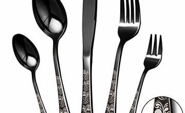 30 Black Silverware Set, Mirror Finish, Smooth Edge, Service for 4.(Black) …