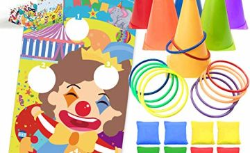 UNGLINGA Carnival Toss Games Kids Party Rings Bean Bag Throwing Tossing Cones Circus Game Obstacle Course Set for Boys Girls Children Family Adults Outdoor Yard Lawn Birthday Games Supplies
