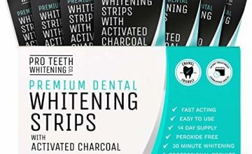 Teeth Whitening Strips with Activated Charcoal - Peroxide Free - Fast Tooth Whitening Results - 28 Premium Strips for White Teeth - Formulated by UK Dentists for Pro Teeth Whitening Co.